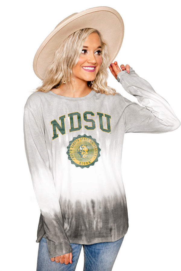 "NORTH DAKOTA STATE BISON ""HIGH LINE"" Tiered Dip-Dye Cotton Long Sleeve Tee"