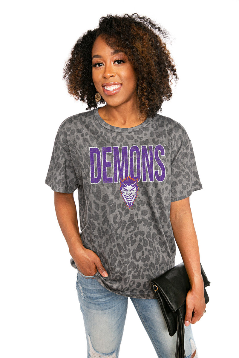 "NORTHWESTERN STATE DEMONS ""HEADS UP"" Oversized Crewneck Slouchy Fit Tee"