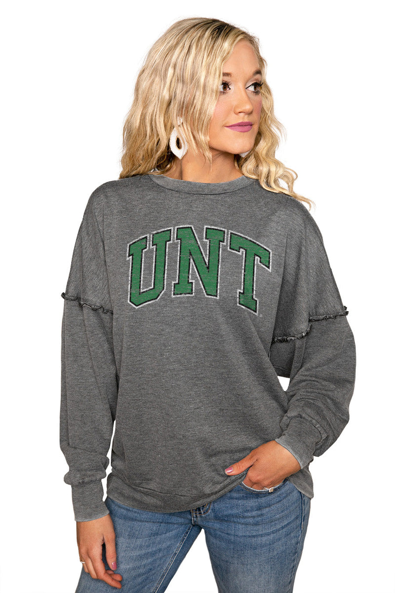 "NORTH TEXAS MEAN GREEN ""BASICALLY PERFECT"" Ruffle Detail Acid-Wash Pullover"