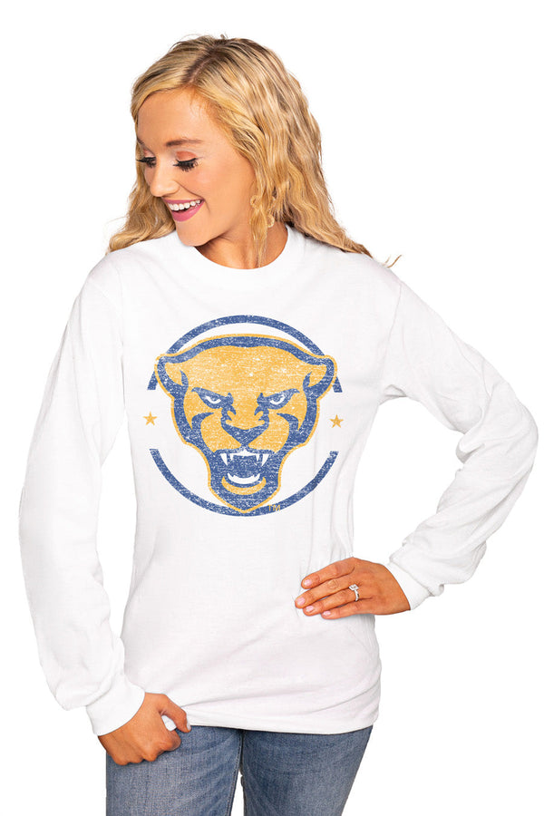 "PITTSBURGH PANTHERS ""END ZONE"" Luxe Boyfriend Crew"