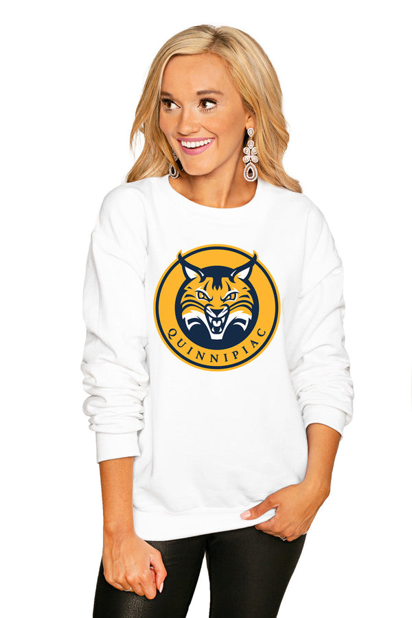 "QUINNIPIAC BOBCATS ""END ZONE"" PERFECT COZY CREW SWEATSHIRT"