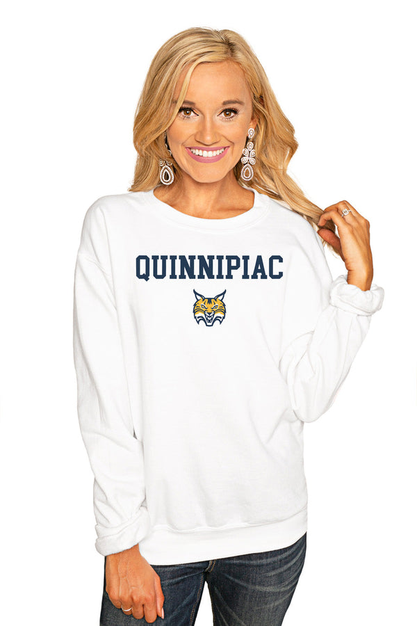 "QUINNIPIAC BOBCATS ""WIN THE DAY"" PERFECT COZY CREW SWEATSHIRT"