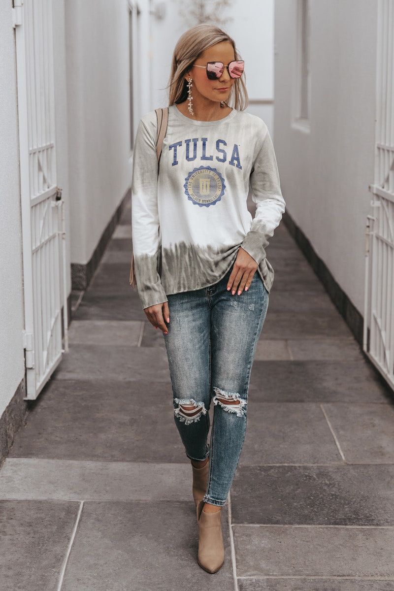 "TULSA GOLDEN HURRICANE ""HIGH LINE"" Tiered Dip-Dye Cotton Long Sleeve Tee"