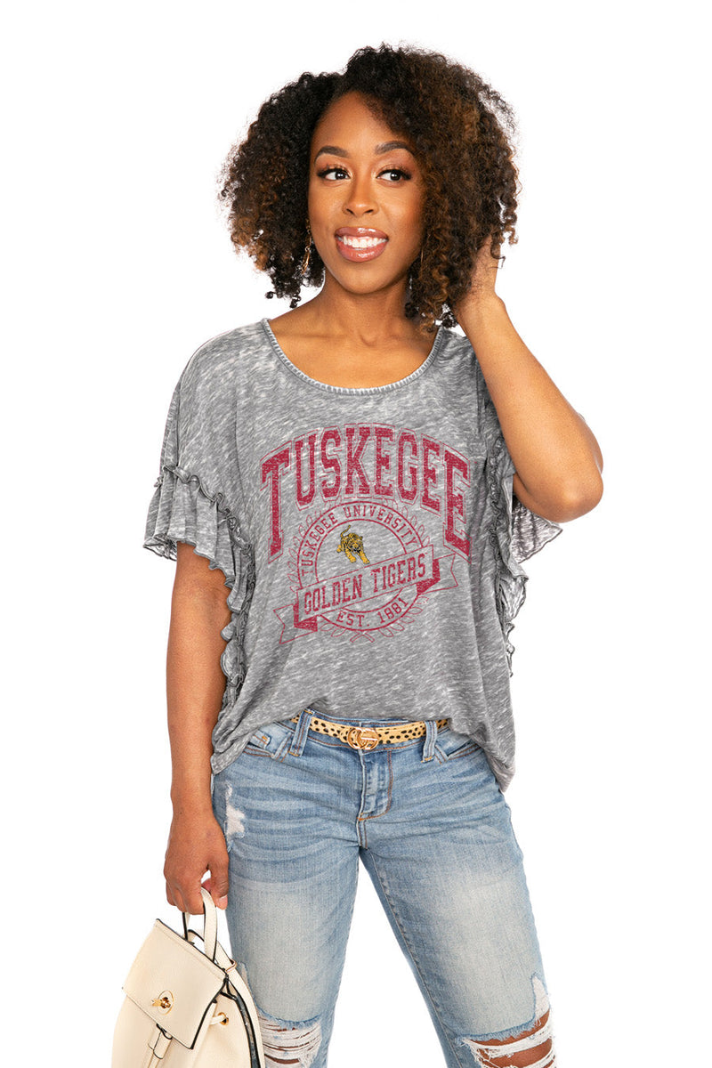 "TUSKEGEE GOLDEN TIGERS ""NEVER BETTER"" Ruffle Acid Wash Top"