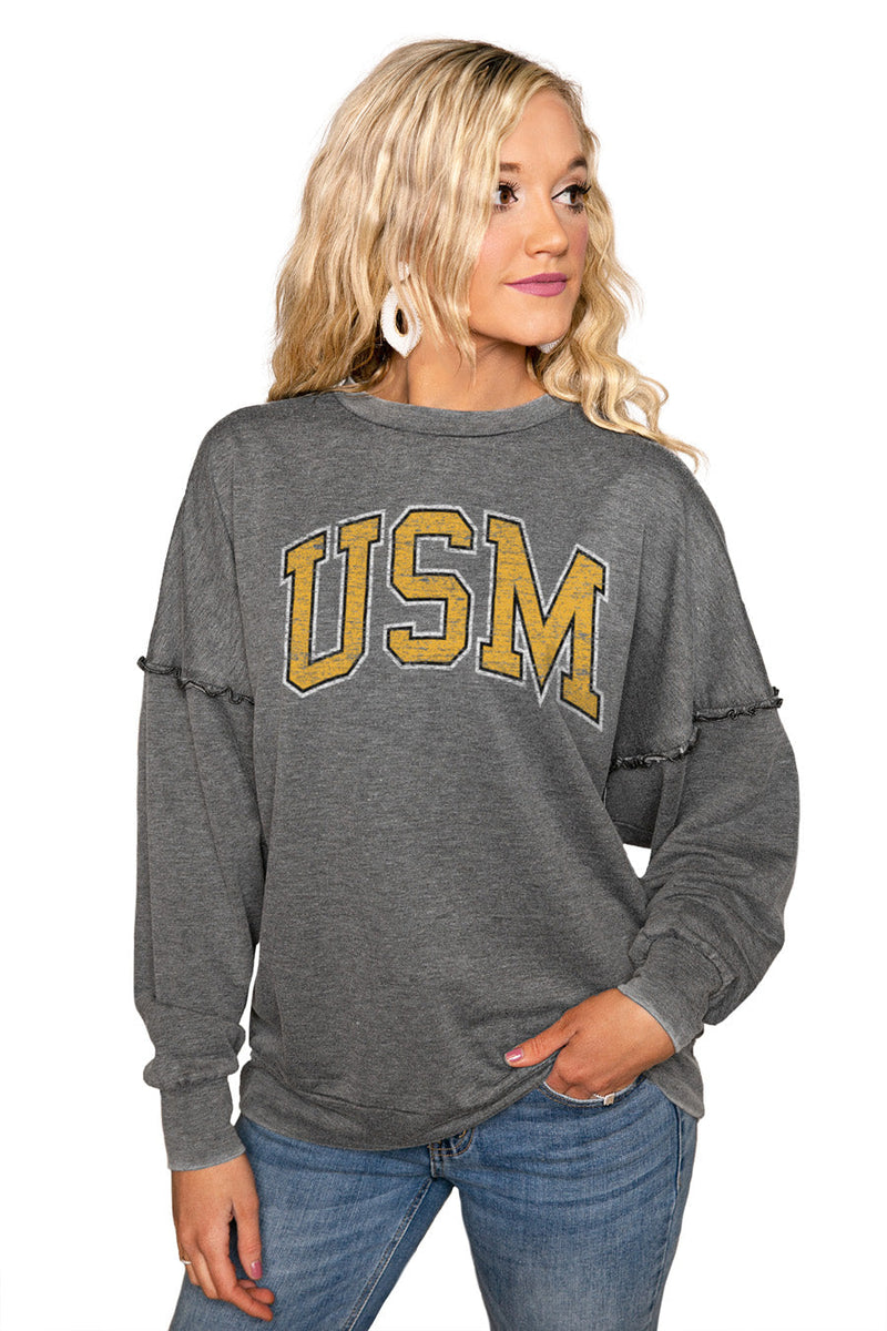 "SOUTHERN MISS GOLDEN EAGLES ""BASICALLY PERFECT"" Ruffle Detail Acid-Wash Pullover"