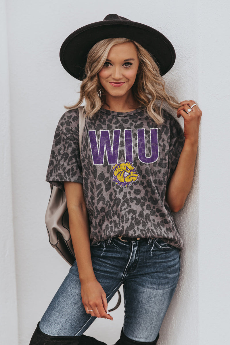 "WESTERN ILLINOIS LEATHERNECKS ""HEADS UP"" Oversized Crewneck Slouchy Fit Tee"