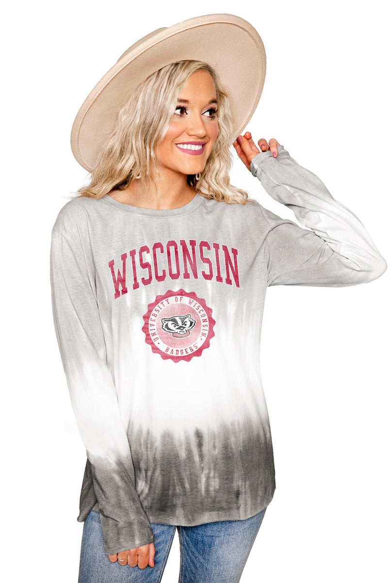 "WISCONSIN BADGERS ""HIGH LINE"" Tiered Dip-Dye Cotton Long Sleeve Tee"