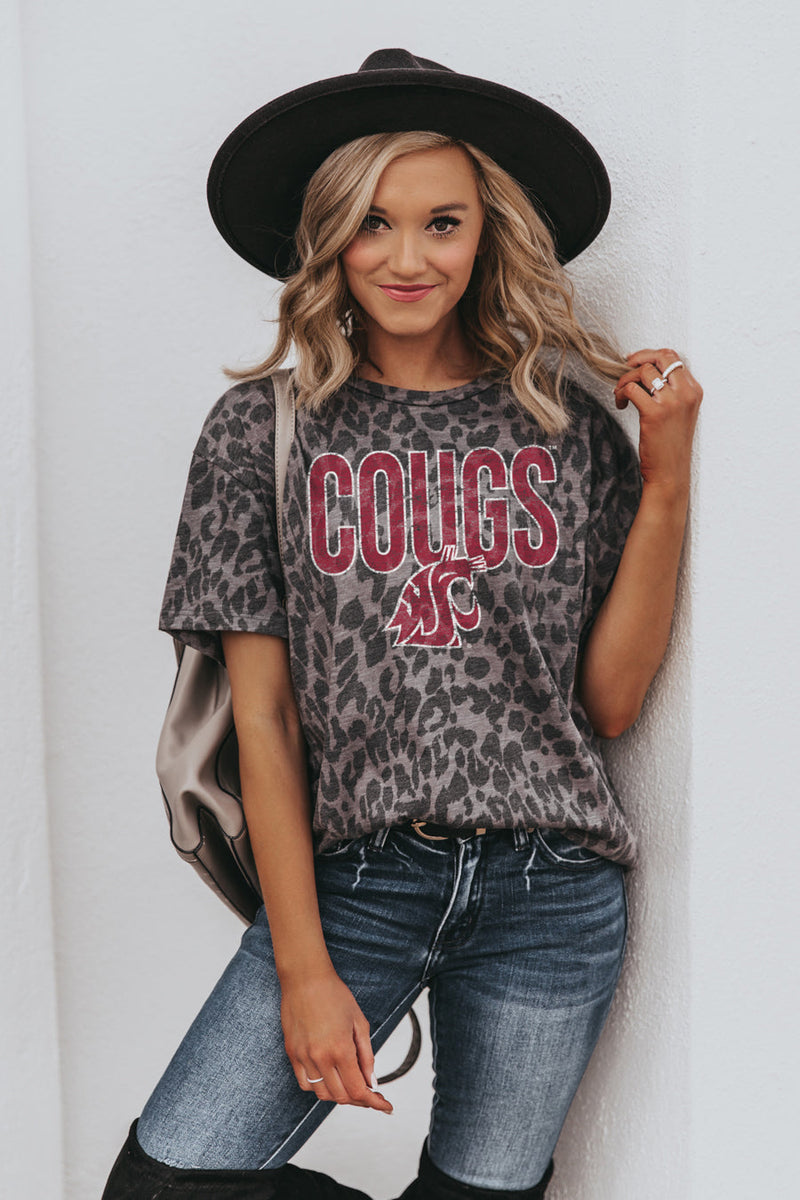 "WASHINGTON STATE COUGARS ""HEADS UP"" Oversized Crewneck Slouchy Fit Tee"