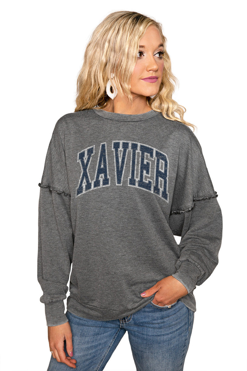 "XAVIER MUSKETEERS ""BASICALLY PERFECT"" Ruffle Detail Acid-Wash Pullover"