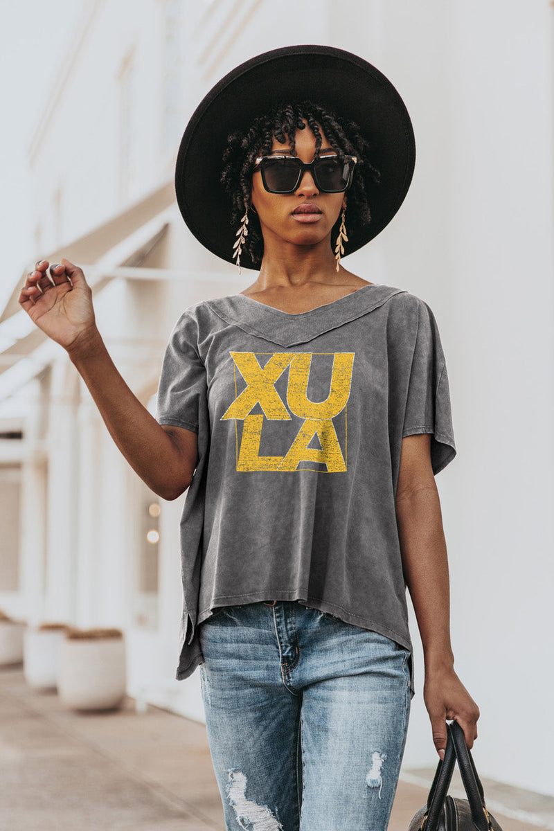 "XAVIER UNIVERSITY OF LOUISIANA GOLD ""DAY TO DAY"" Modal Mineral Wash Slouchy V-Neck Tee"