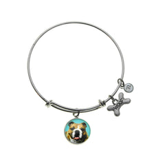 English Bulldog Silver Bangle Bracelet - Top Dogs bt B. Berish