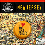 I love New Jersey Single Button on New Jersey Map