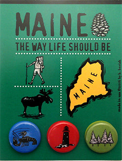 Maine, The Granite State Postcard Backed Button Card