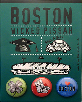 Boston, Wicked Pissah, Postcard Backed Button Card
