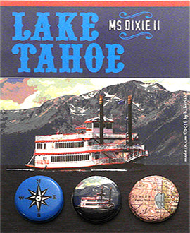 Custom Designed Miss Dixie Button Card for Zephyr Cove Resort, Lake Tahoe