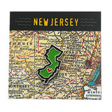 New Jersey State Enamel Pin on Custom Designed Card