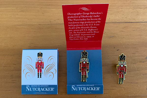 Nutcracker Enamel Pin and Matchbook Packaging