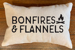 Bonfires & Flannels Custom Canvas Pillow by B. Berish