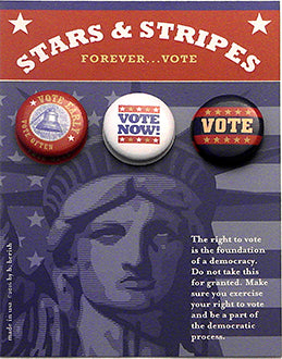 Stars and Stripes Political Button Cards