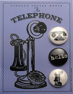 Telephone Vintage Social Media Button Card