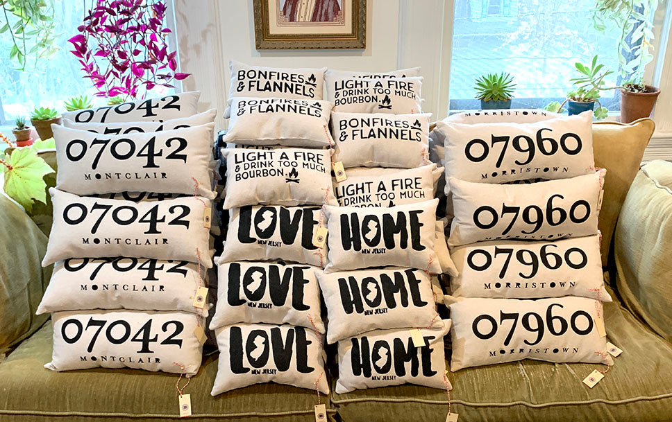 Hand Printed and Sewn Pillows By B. Berish