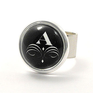 Monogram - Sterling Silver Plate White Letter with Flourish Black Background Adjustable Ring
