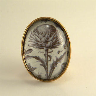 Spring Fling - Vintage Thistle Botanical Engraving Brooch