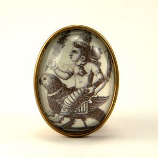 Public Transportation - Hindu Deity Engraving Brooch