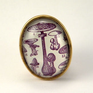 Fungus Among Us Mushroom Botanical Engraving Brooch