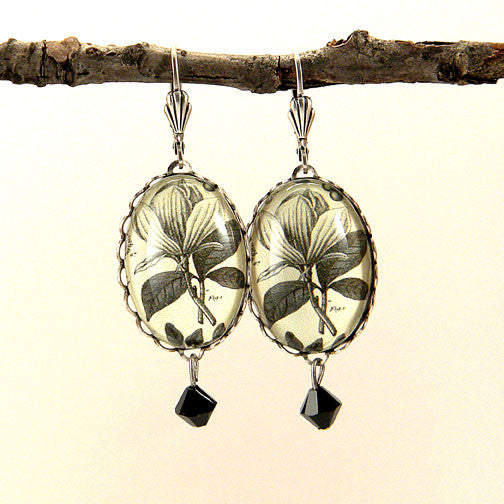 Rustic Petals Vintage Botanical Flora Engraving Earrings