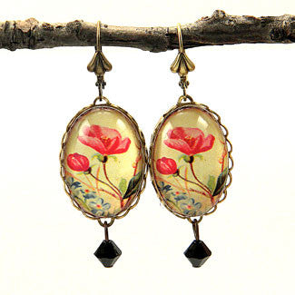 Strike A Posey Victorian Red Flower Earrings