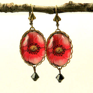 Spring Flourish - Red Poppy Flower Earrings