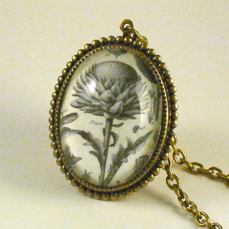 Spring Fling - Vintage Thistle Botanical Engraving Pendant Necklaces