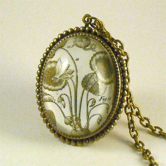 Loverly Weeds Vintage Botanical Engraving Vintage Style Pendant Necklace or Silver Pendant Setting
