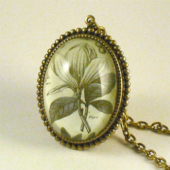 Rustic Petals Vintage Botanical Flora Engraving Jewelry. New Silver Setting Just Added
