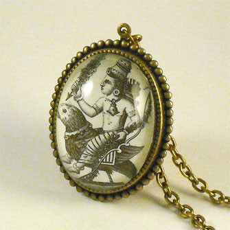 Public Transportation - Hindu Deity Engraving Deluxe Pendant Necklace