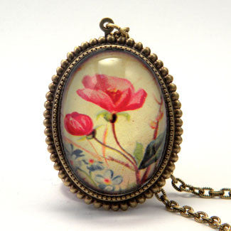 Strike A Posey Victorian Red Flower Deluxe Pendant Necklace