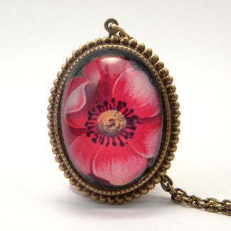 Spring Flourish - Red Poppy Flower Deluxe Pendant Necklace