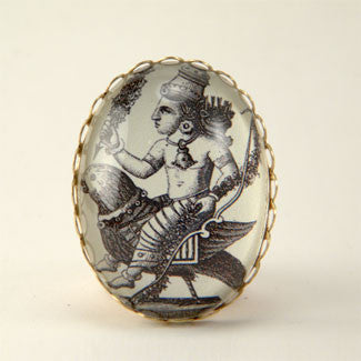 Public Transportation - Hindu Deity Engraving Cocktail Ring