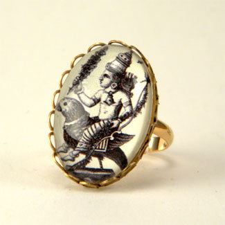 Public Transportation - Hindu Deity Engraving Petite Ring