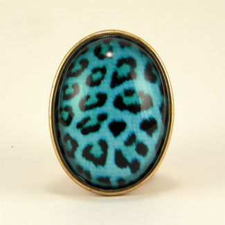 Blue Moon - Blue Leopard Pattern Brooch