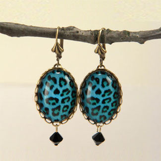 Blue Moon - Blue Leopard Pattern Earrings
