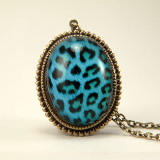 Blue Moon - Blue Leopard Pattern Pendant Necklace