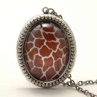 Over The Top Giraffe Print Pendant Necklace in Vintage Style Pewter Setting