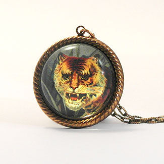 I of the Tiger - Full Color Tiger Image Petite Necklace