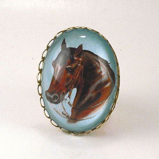 Hay Is For Horses - Thoroughbred Horse Cocktail Ring