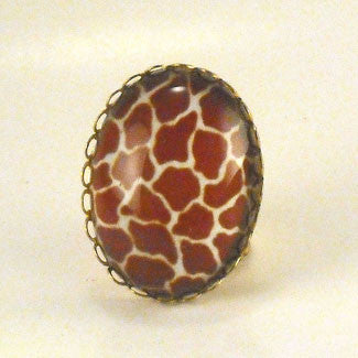 Over The Top Giraffe Print Cocktail Ring
