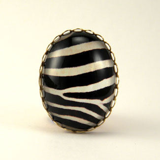 The White Stripes Zebra Cocktail Ring