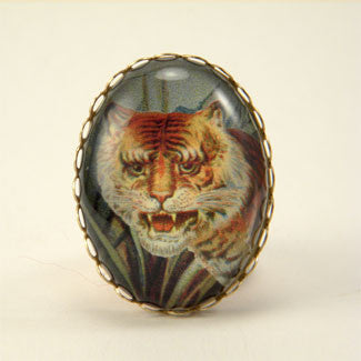 I of the Tiger - Full Color Tiger Image Cocktail Ring