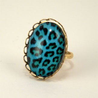 Blue Moon - Blue Leopard Pattern Petite Ring